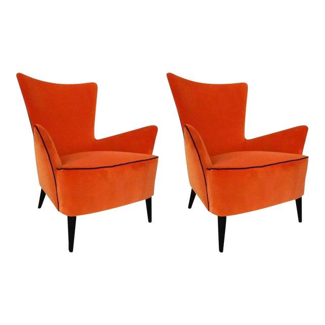 Pair of Italian Mid Century Modern Reupholstered Orange Velvet Armchairs, 1960s For Sale