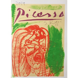 Abstract Framed Picasso Poster Painting by Sean Kratzert 'Green Red Face' For Sale