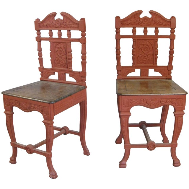 Pair of 19th Century English Cast Iron Chairs For Sale