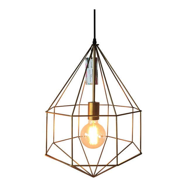 Gold Geometric Cage Pendant Light - Image 1 of 5