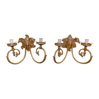 Antique Brass Wall Sconces - a Pair For Sale