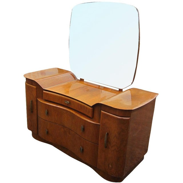 1940s Art Deco Mahogany Vanity Dresser With Mirror For Sale - Image 5 of 5