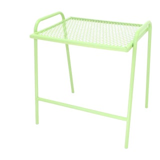 Vintage Mid Century Bench Green Metal End Table For Sale