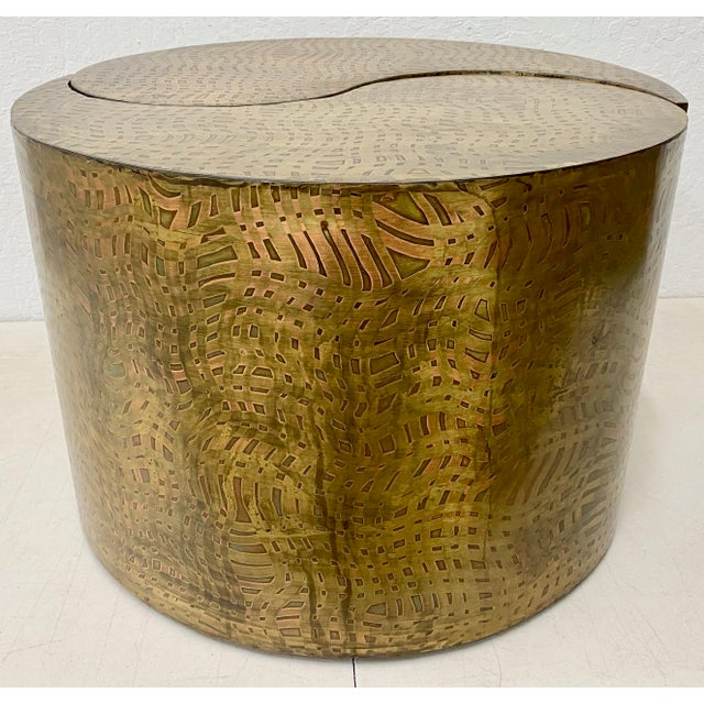 """Pair of Pilino Parker Etched Bronze """"Yin Yang"""" Nesting Side Tables C.1988 For Sale - Image 9 of 12"""