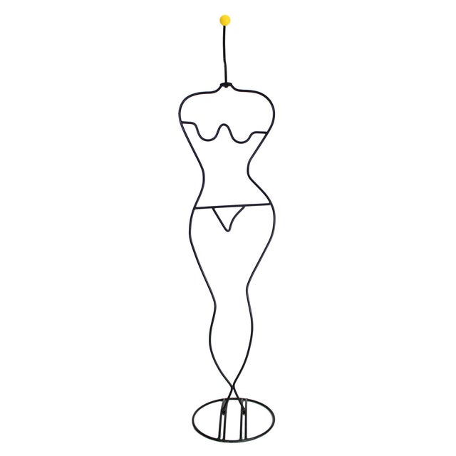 1980s 1980's Laurids Lonborg Danish Abstract Memphis Modernist Tubular Figural Woman Wrought Iron Wire Coat Rack For Sale - Image 5 of 5