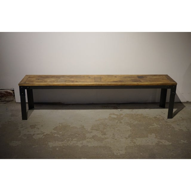 Industrial Reclaimed Wood & Metal Bench - Image 2 of 5