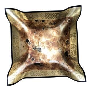 Georges Briard Brutalist Bent Gold Black Splatter Bowl For Sale
