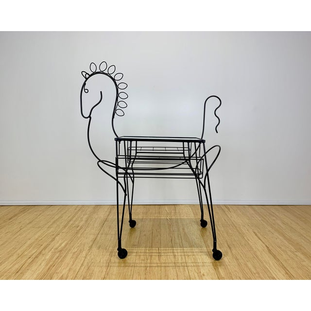1960s 1960s Mid Century John Risley Wire Horse Form Bar Cart For Sale - Image 5 of 11
