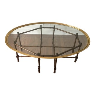 Mid Century Baker Faux Bamboo Coffee Table For Sale