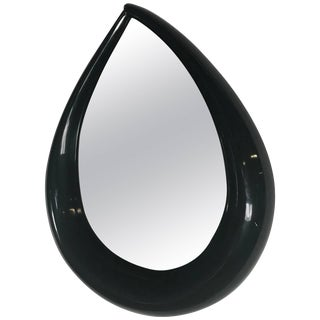 Large Mid-Century Pop Modern Teardrop Mirror in Black Lacquer Circa 1971 For Sale