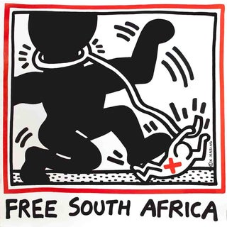 Keith Haring, Free South Africa, Edition: 20000, Offset Lithograph, 1985 For Sale