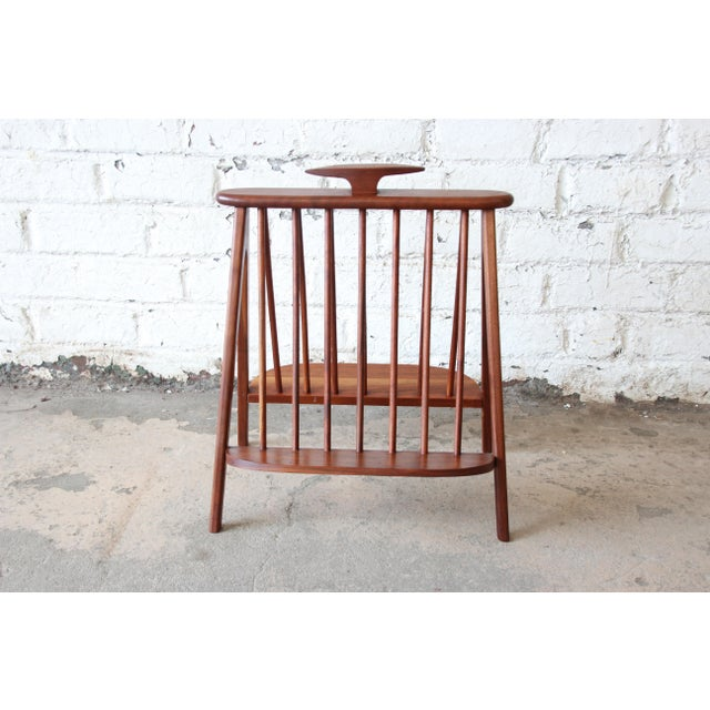 Contemporary Arthur Umanoff Sculpted Walnut Mid-Century Record Holder or Magazine Rack For Sale - Image 3 of 8