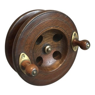 Vintage English Walnut Fishing Reel