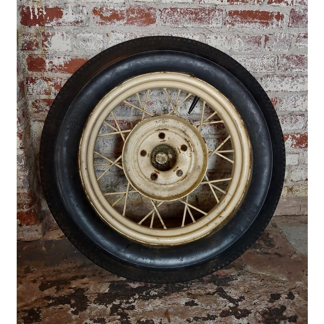 """Ford Model A Original 1920/30s wire spoke Wheel w/INSA Tire size 29 x 6 x 29"""" A beautiful piece that will add to your décor!"""