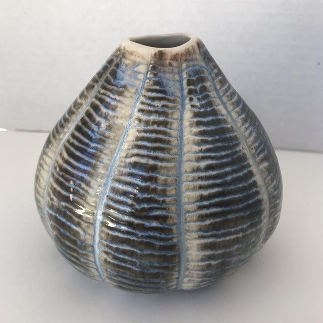 Unique Blue and Brown Ceramic Vase - Image 5 of 5