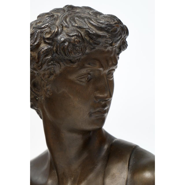 Bronze French Antique Bust of David after Michelangelo For Sale - Image 7 of 11