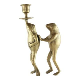 Vintage Brass Frogs Candle Holder For Sale