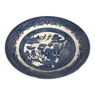 Vintage Antique Blue Willow Decorative Bowl Marked Churchill England Dish Decor For Sale