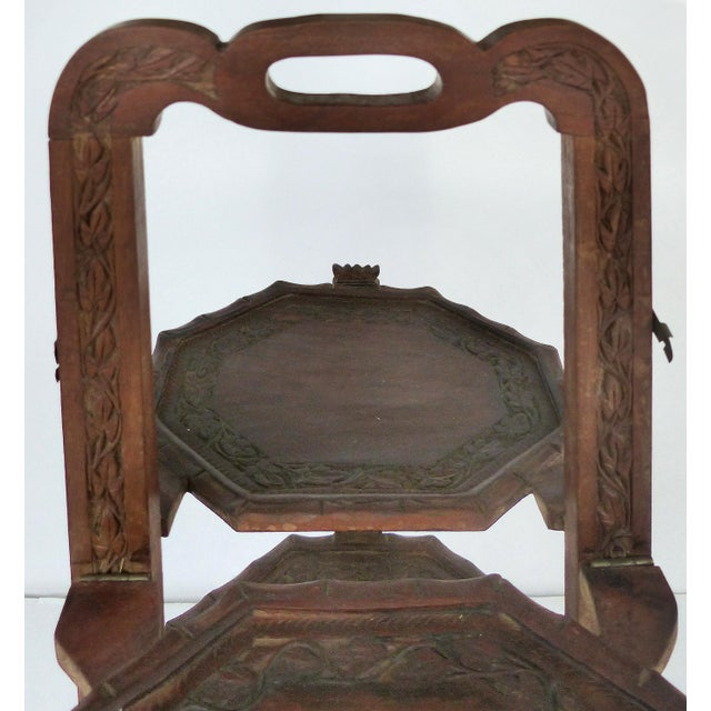Wood 1900s Country Carved Wood Folding Serving Stand For Sale - Image 7 of 8