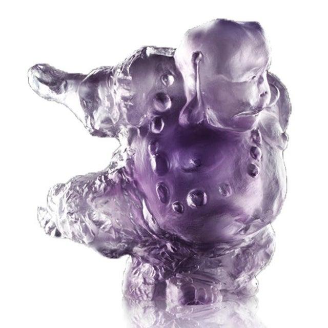 "Contemporary Crystal ""Great Joy-Effortlessness"" Matreiya, Happy Buddha Figurine in Violet For Sale - Image 3 of 4"