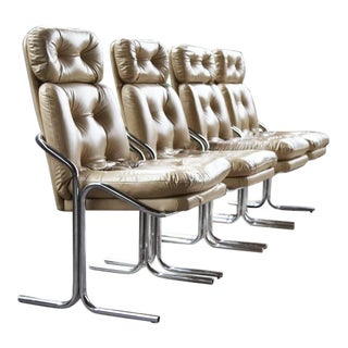 Mid Century Modern Jerry Johnson Style bent Chrome Chairs - Set of 4 For Sale
