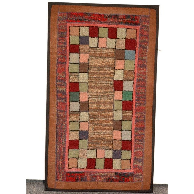 1930s mounted hand-hooked rug and in great condition.