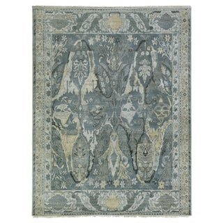 Loch Hand knotted Wool Emerald Rug-12'x15' For Sale