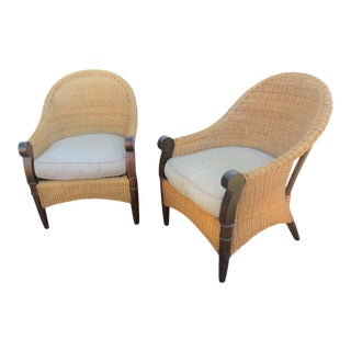 Modern Design Wicker & Mahogany Lounge Chairs - a Pair For Sale