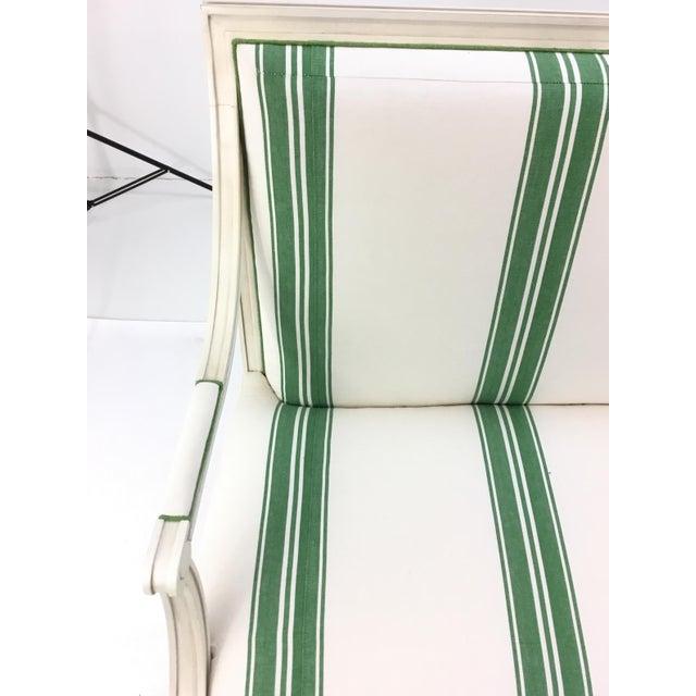 Henredon Mark D. Sikes for Henredon Green Stripped Presido Sofa/Bench For Sale - Image 4 of 8