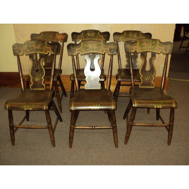 Late 19th Century Antique Hitchcock Style Painted Dining Room Side Chairs- Set of 6 For Sale - Image 9 of 9