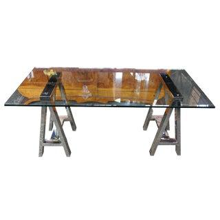 Campaign Williams Sonoma Mason Glass Top Writing Desk For Sale