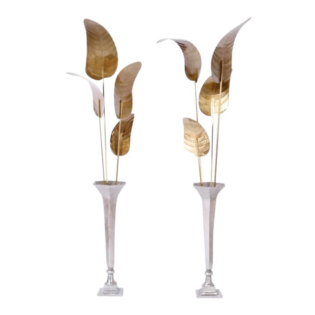Tall Midcentury Palm Leaf Sculptures - A Pair For Sale