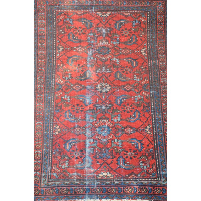 """Antique Hand Knotted Persian Floral Design Rug - 3'6"""" X 4'8"""" For Sale - Image 4 of 11"""