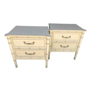 Vintage Faux Bamboo Henry Link Nightstands-Pair For Sale