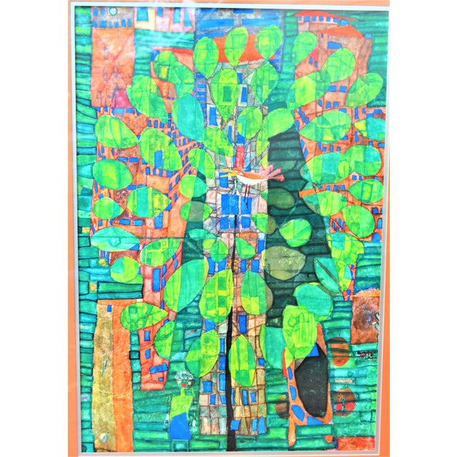 "Friedrich Hundertwasser ""Singing Bird on a Tree"", Framed and Matted Print For Sale In Houston - Image 6 of 7"