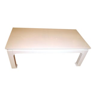 Chinoiserie Ming White Wood Rectangular Coffee Table