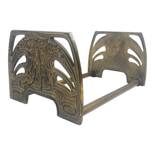 Art Nouveau Brass Expandable Bookends / Book Stand For Sale