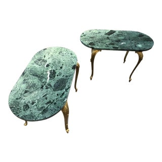 Louis XV French Empire Bronze Lion Head Marble Top End Tables - a Pair For Sale