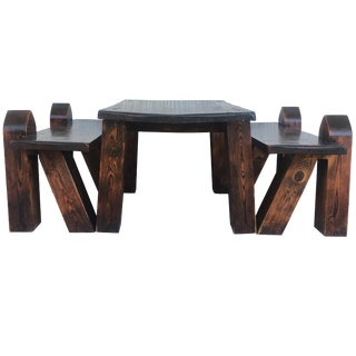 Carved Pine Coffee or Picnic Table With Two Benches Depicting a Verge With Child For Sale