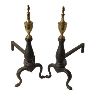 Antique Andirons Federal Wrought Iron Brass Urn Finials by Puritan - a Pair For Sale