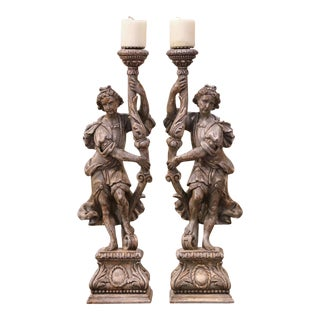 Pair of 19th Century Italian Carved and Grey Painted Figure Candlesticks For Sale