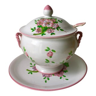Vintage Italian Hand-Painted Tureen & Platter For Sale