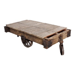Antique Lineberry Industrial Cast Iron & Wood Coffee Table For Sale