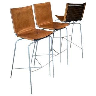Fabiaan Van Severan Leather Bar Stools - Set of 3 For Sale