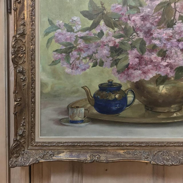 Blue Russian Framed Oil Painting on Canvas For Sale - Image 8 of 11