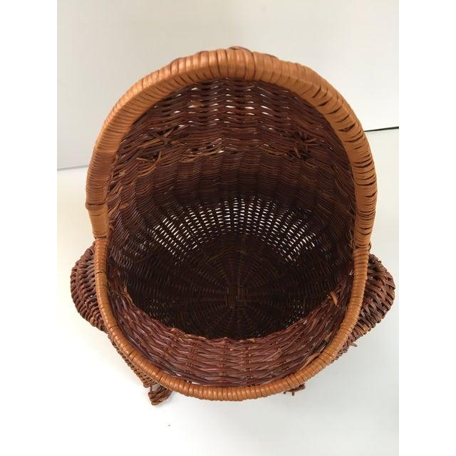 Large-Vintage Natural Wicker Frog Basket For Sale - Image 6 of 12