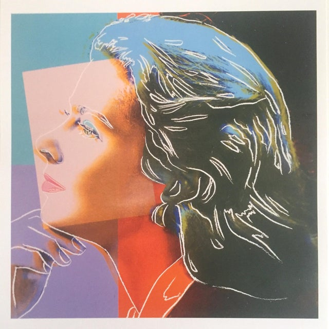 "Black Andy Warhol Estate Rare Vintage 1989 Collector's Pop Art Lithograph Print "" Ingrid Bergman "" 1983 For Sale - Image 8 of 9"