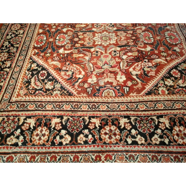 Art Nouveau Persian Mahal Sultanabad Red and Auburn Wool Rug - 9′ × 12′5″ For Sale - Image 3 of 7