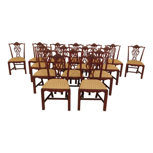 Chippendale Carved Mahogany Dining Room Side Chairs - Set of 16 - Image 1 of 13