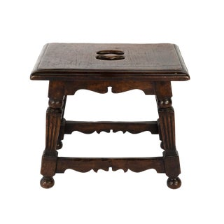 English Oak Joint Stool With Square Fluted Legs, Circa 1850 For Sale